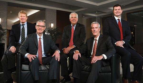 Board Members (l to r): Tim Brown, Tax; Kevin O'Malley, Litigation; Mike Kennedy, Co-founder, Litigation; Dean Short, Managing Partner, Sports Law; Shannon Clark, Personal Injury & Wrongful Death