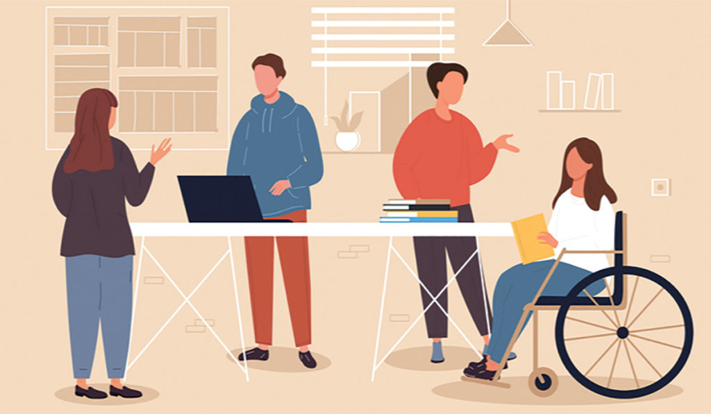 Illustration of 4 coworkers standing around a desk. One of the employees is in a wheelchair to represent inclusion