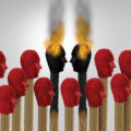 Illustration of matches with faces for tips with two on fire to represent hot heads.