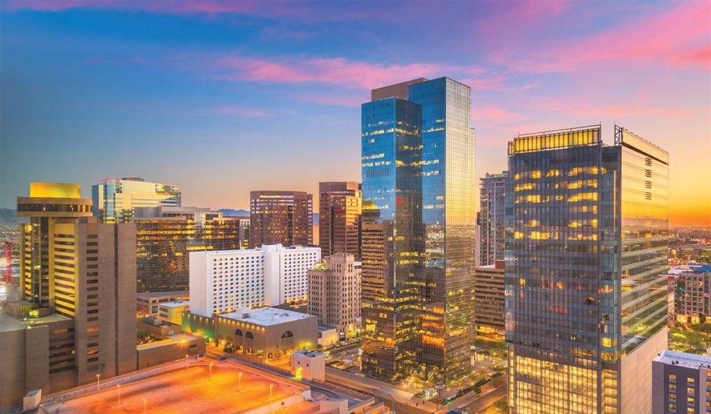 Downtown Phoenix at sunset
