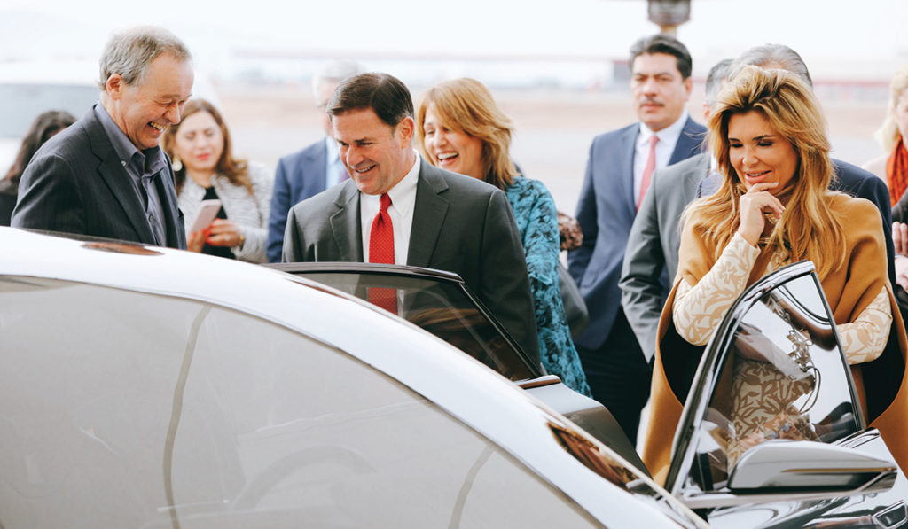 Governor Doug Ducey and Sonora Governor Claudia Pavlovic join Lucid Motors CEO Peter Rawlinson in December 2019 at a groundbreaking for the company's factory in Casa Grande